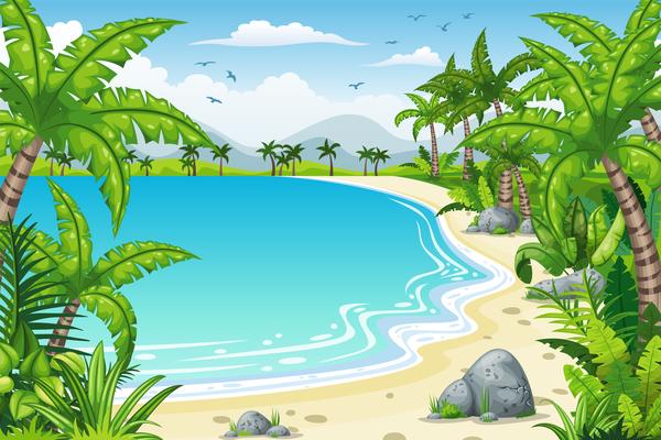 Charming tropical coastal landscape vector material 04
