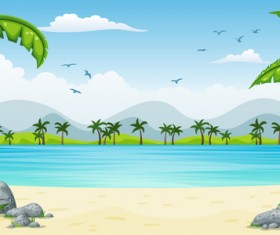 Charming tropical coastal landscape vector material 05