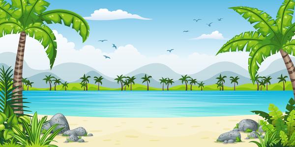 Charming tropical coastal landscape vector material 05