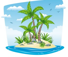Charming tropical coastal landscape vector material 06