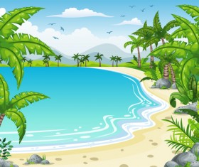 Charming tropical coastal landscape vector material 07