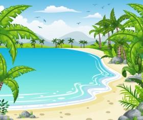 Charming tropical coastal landscape vector material 07