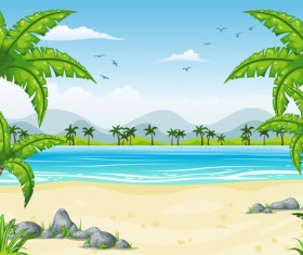 Charming tropical coastal landscape vector material 08