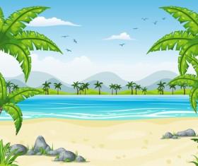 Charming tropical coastal landscape vector material 08