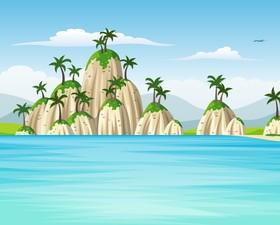 Charming tropical coastal landscape vector material 09