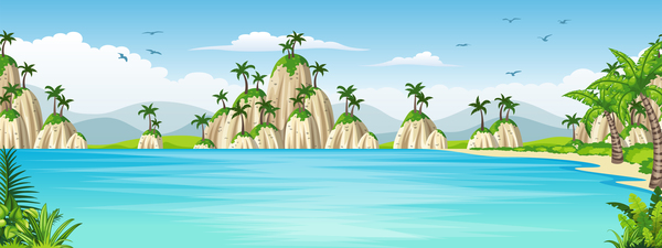Charming tropical coastal landscape vector material 09