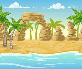 Charming tropical coastal landscape vector material 10