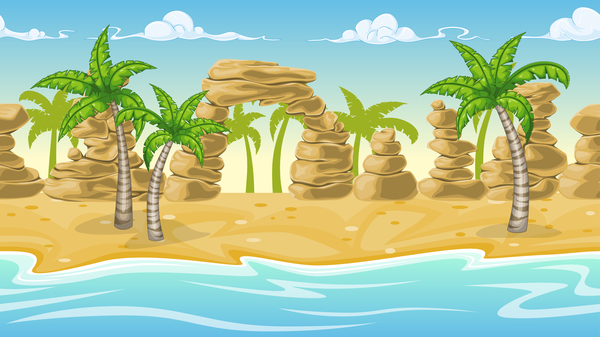Charming tropical coastal landscape vector material 10