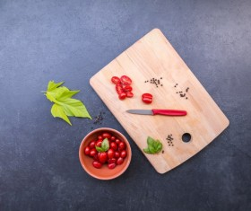 Cherry Tomatoes on the chopping board Stock Photo