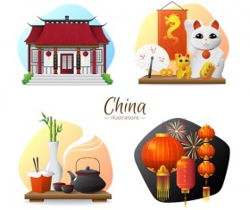 China sights elements illustration vector
