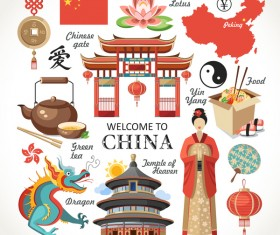 China travel sights with traditions cultural vector 01