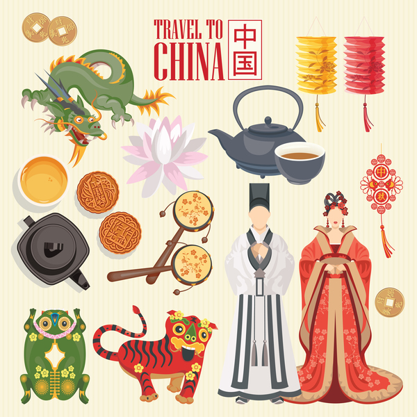 China travel sights with traditions cultural vector 02