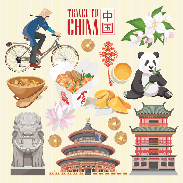 China travel sights with traditions cultural vector 03