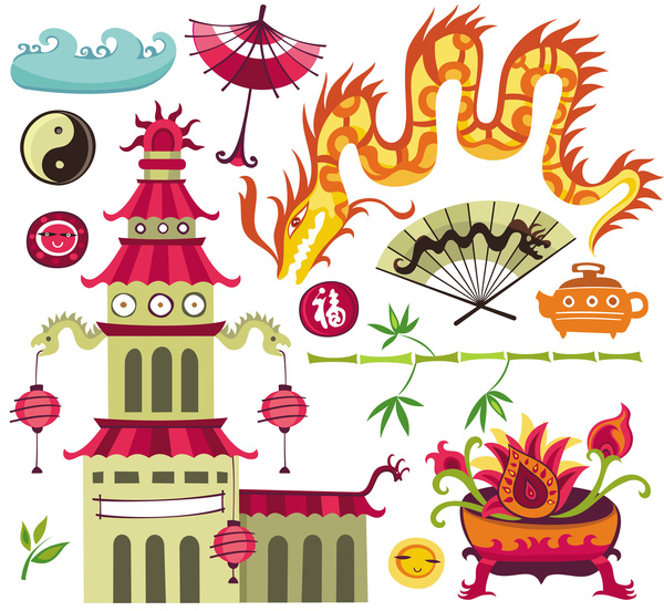 China travel sights with traditions cultural vector 04