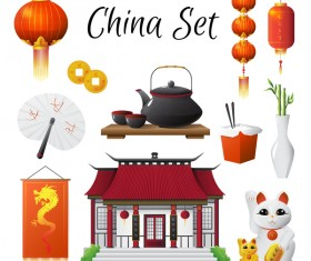 China travel sights with traditions cultural vector 05