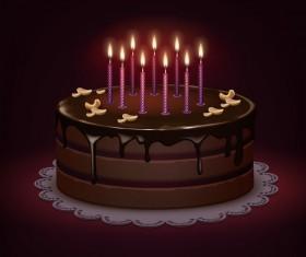 Chocolate birthday cake vector material
