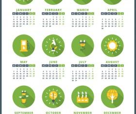 Circles green 2018 company calendar vectors