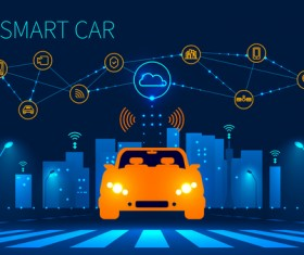 City night with smart car infographic vector