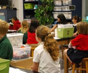 Classroom children in class Stock Photo