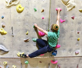 Climbing people in the indoor climbing wall Stock Photo 01