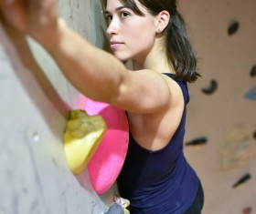 Climbing people in the indoor climbing wall Stock Photo 02