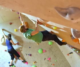 Climbing people in the indoor climbing wall Stock Photo 03