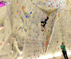 Climbing people in the indoor climbing wall Stock Photo 05