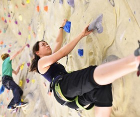 Climbing people in the indoor climbing wall Stock Photo 06