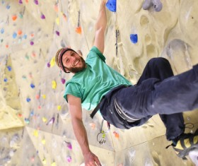 Climbing people in the indoor climbing wall Stock Photo 07