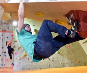Climbing people in the indoor climbing wall Stock Photo 08