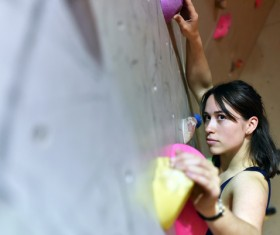 Climbing people in the indoor climbing wall Stock Photo 09
