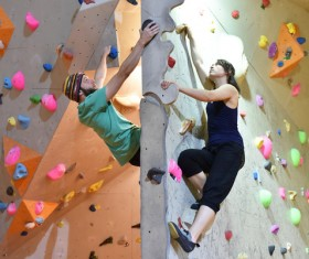 Climbing people in the indoor climbing wall Stock Photo 10