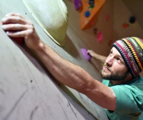 Climbing people in the indoor climbing wall Stock Photo 11