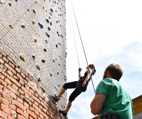 Climbing people in the indoor climbing wall Stock Photo 12