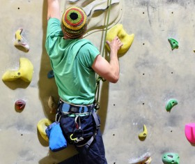 Climbing people in the indoor climbing wall Stock Photo 13