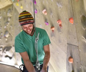 Climbing people in the indoor climbing wall Stock Photo 14