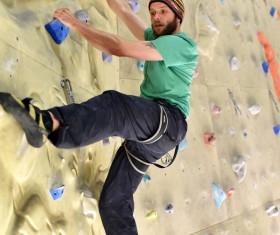 Climbing people in the indoor climbing wall Stock Photo 15