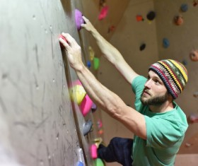 Climbing people in the indoor climbing wall Stock Photo 16