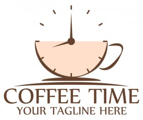 Coffee logos with clock vector