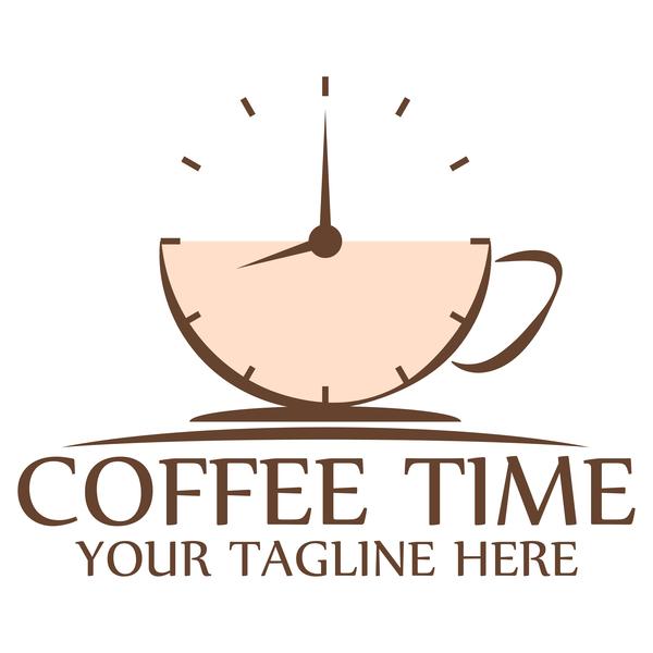 Coffee logos with clock vector