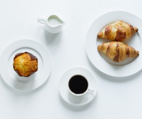 Coffee with milk and bread HD picture