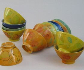 Color ceramic bowl Stock Photo