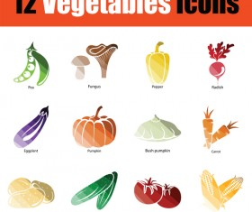 ColorLed vegetables icons vector set 01