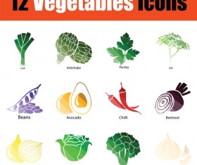 ColorLed vegetables icons vector set 02
