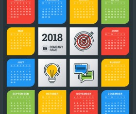 Colored 2018 calendar company template vectors
