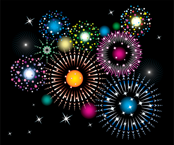 Colored firework effect vectors background