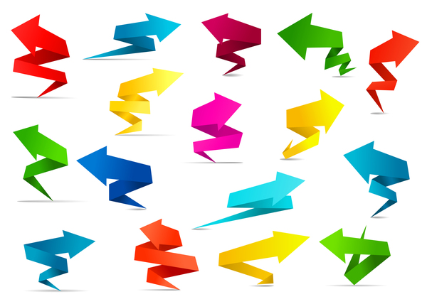 Colored origami arrow vector