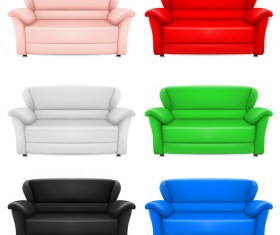 Colored sofa illustration vector 01