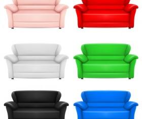 Colored sofa illustration vector 01