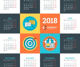 Company 2018 calendar template vectors material